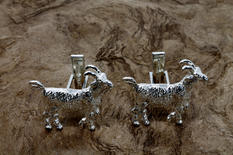 Large Billy Goat Cuff Links With Big Horns in 925 Sterling SIlver