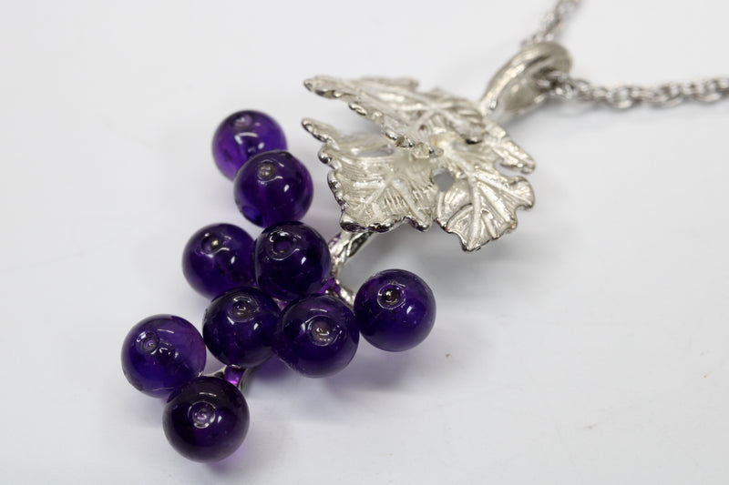 Medium Amethyst Grape Cluster Necklace made in Sterling Silver
