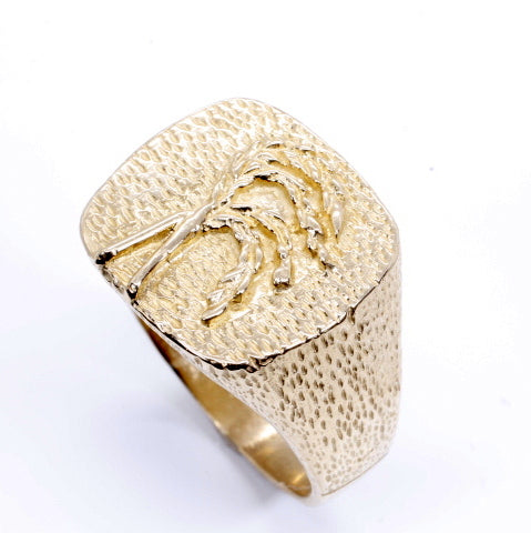 Mens Rice Ring made in Solid 14kt yellow gold