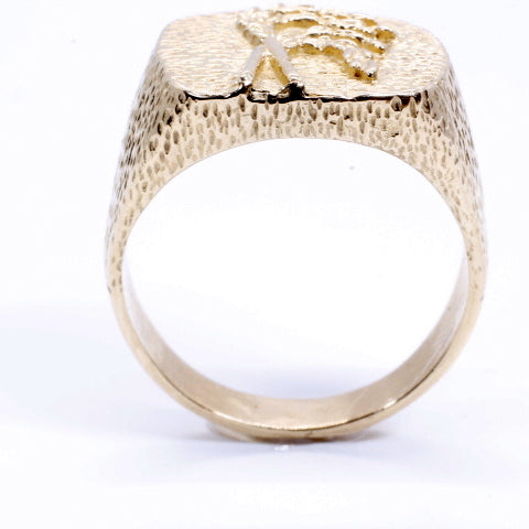 Mans Rice Ring made in Solid 14kt yellow gold for Rice Farmer