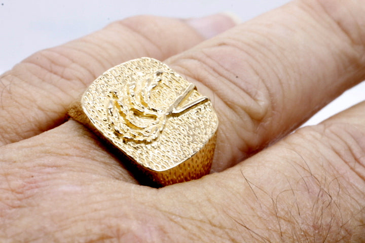 Mans Rice Ring made in Solid 14kt yellow gold