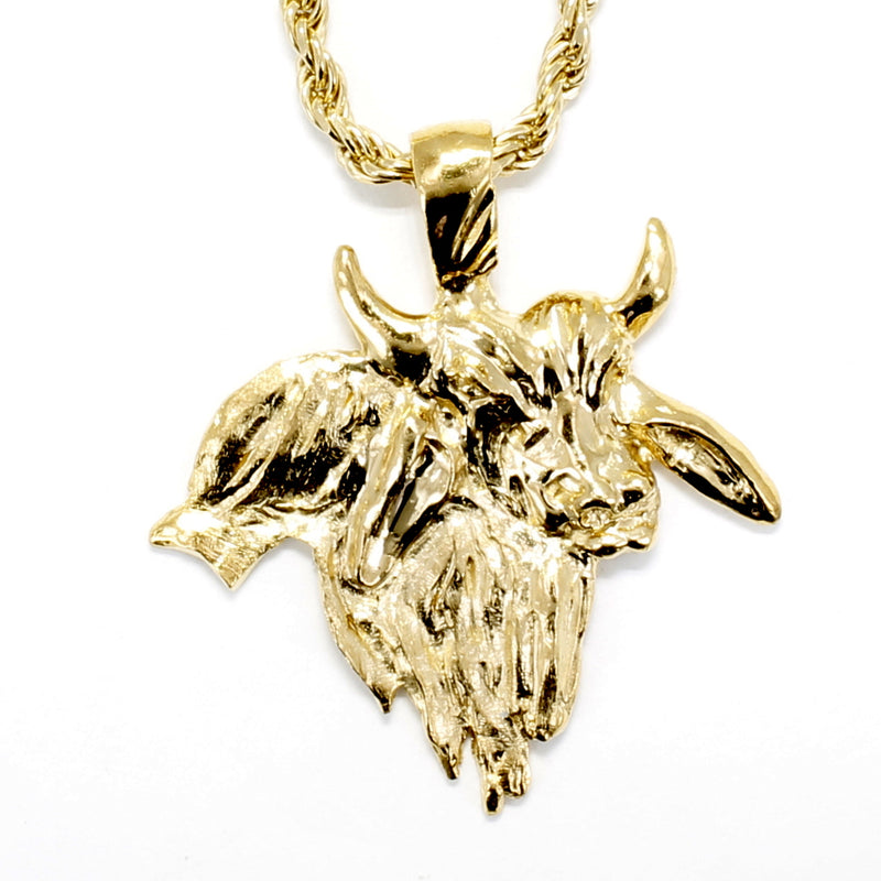 Gold Brahman Bull Necklace for him in 14kt Gold Vermeil