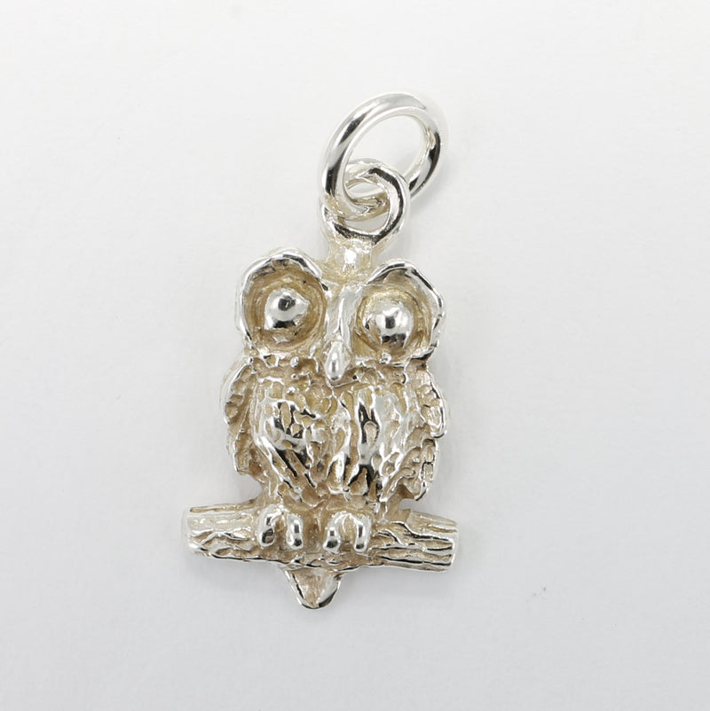Silver Owl Charm with Big Eyes 925 Sterling Silver owl in tiny size