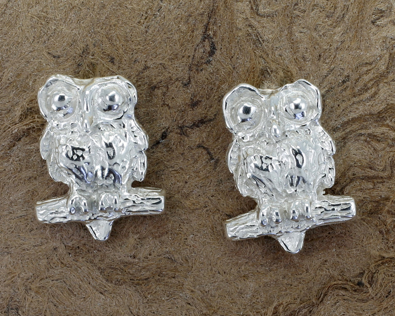Silver Owl Earrings with Big Eyes 925 Sterling Silver Post Earring