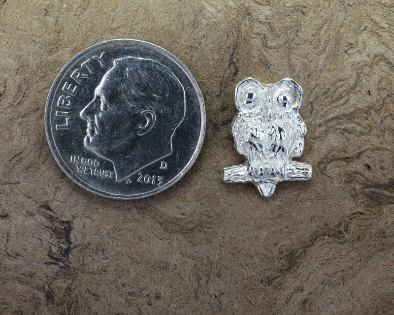 Silver Owl Tie Tack with Big Eyes made in 925 Sterling Silver owl in small size