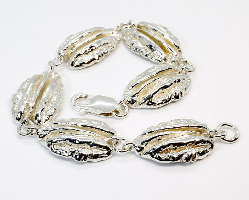 Silver Pecan Bracelet in 925 Sterling Silver with Actual Size Pecans