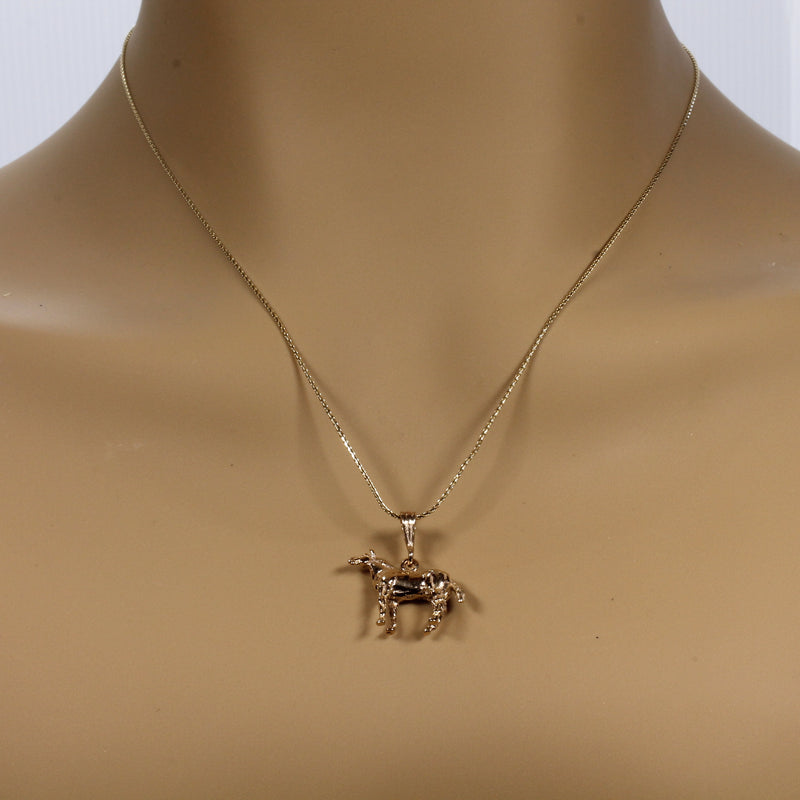 Horse Necklace with 14kt solid gold three dimensional Quarter Horse