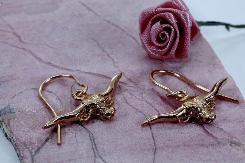 Rose Gold Texas Longhorn Earrings with Small Rose Gold Longhorns