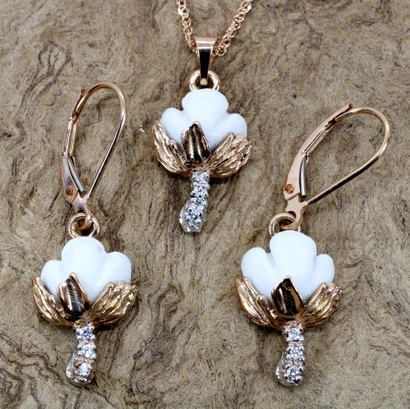 Set of Rose Gold Cotton Boll Necklace and Earrings with Diamond Stems