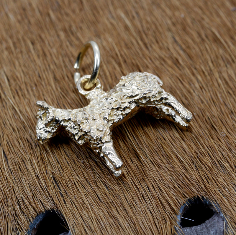 Gold Sheep Charm made in Solid 14kt Gold for Her Bracelet