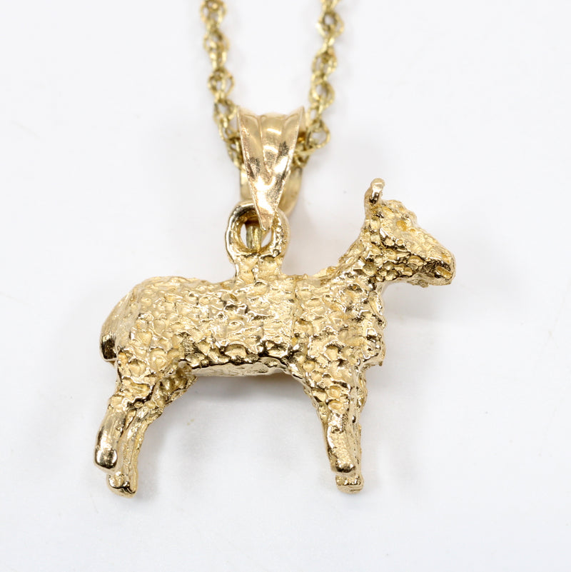 Gold Sheep Necklace made in Solid 14kt Gold