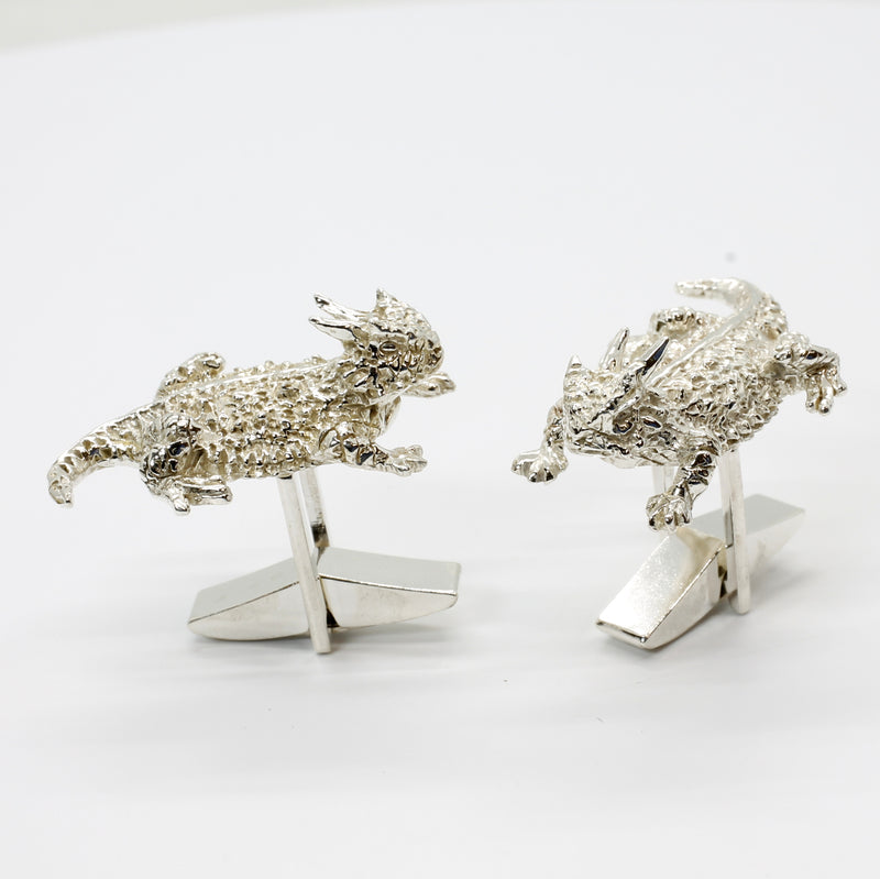 Horn Frogs Silver Horny Toad Cuff Links for Men