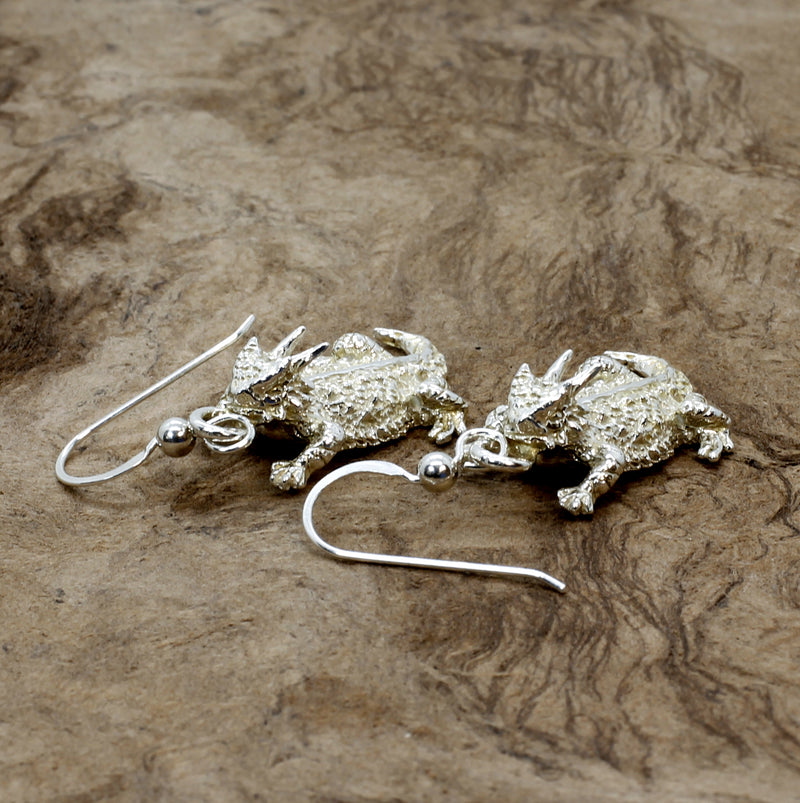 Silver Horny Toad Dangle Earrings