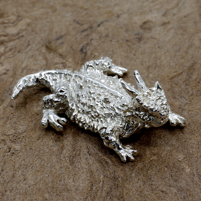 Silver Horny Toad Pin or Tie Tack for Men