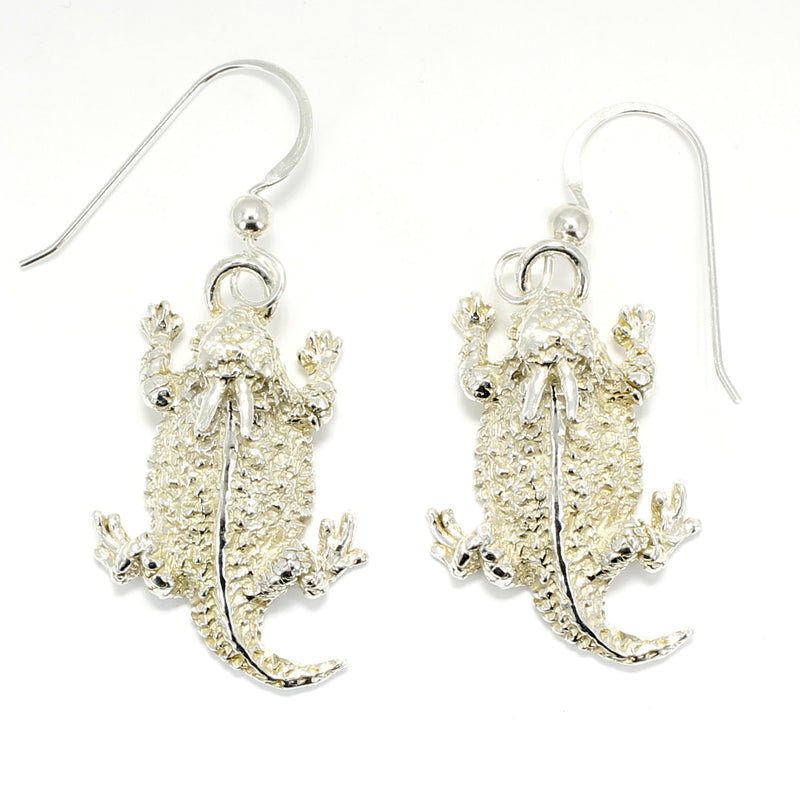 Silver Horned Toad Dangle Earrings