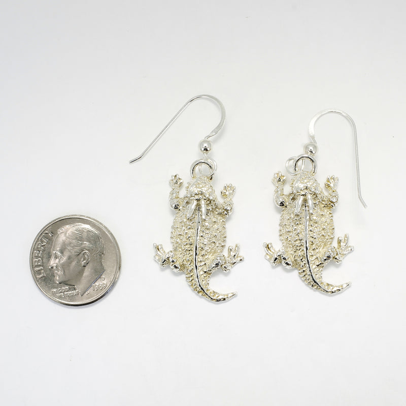Horn Frogs 925 Sterling Silver Horned Toad Dangle Earrings