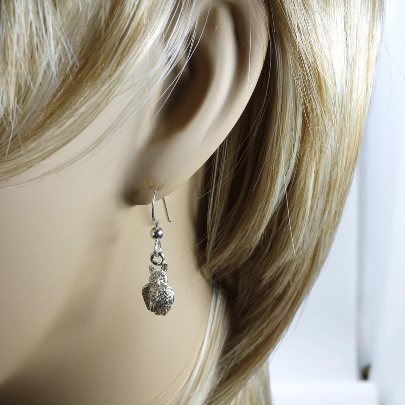 Silver Owl Dangle Earrings with tiny 925 Sterling Silver Owls facing sideways