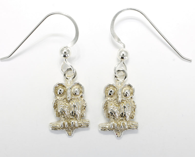 Silver Owl Earrings with Big Eyes 925 Sterling Silver Dangle Earrings