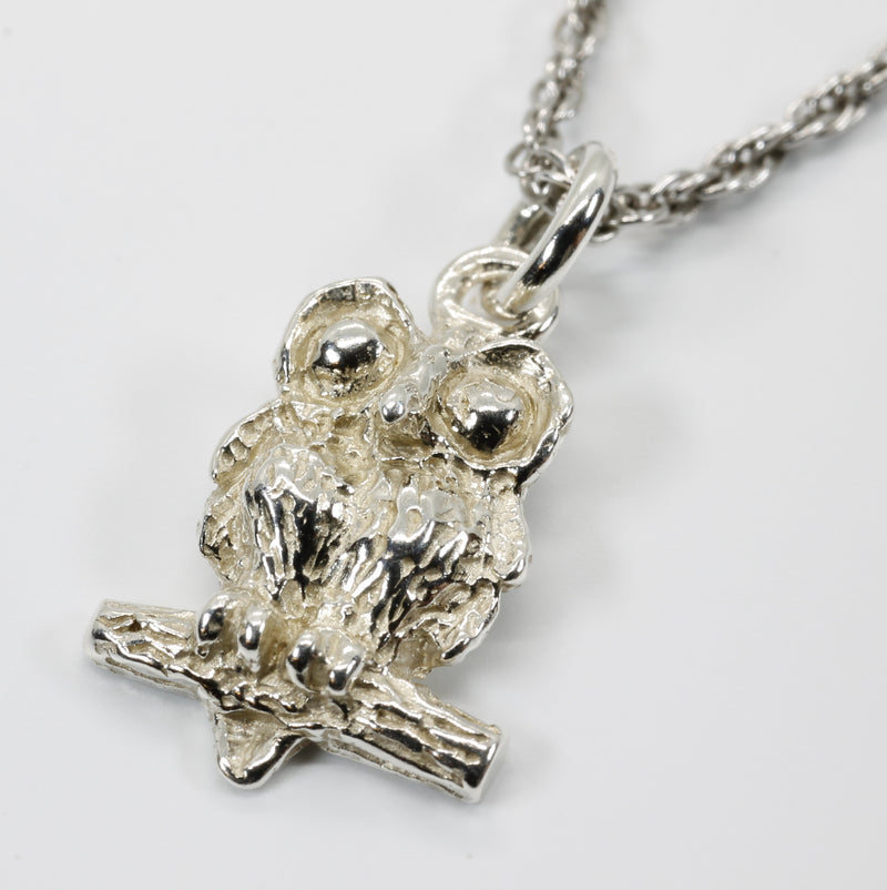 Silver Owl Necklace with Big Eyes 925 Sterling Silver owl in tiny size