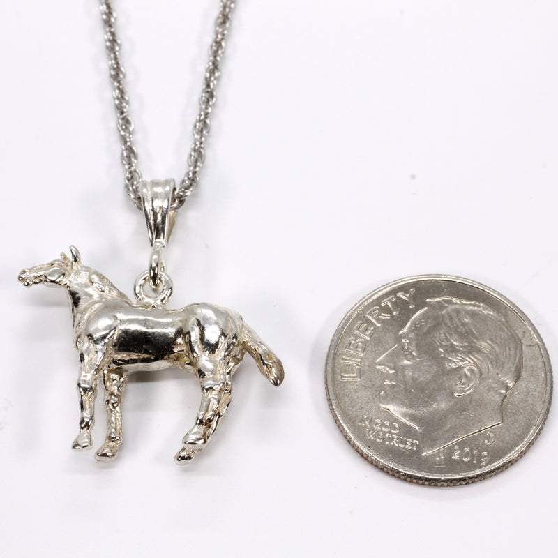 Horse Necklace with three dimensional Quarter Horse made in 925 sterling silver