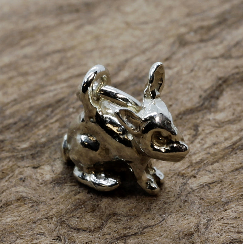 Tiny Bunny Rabbit Charm in 925 Sterling Silver