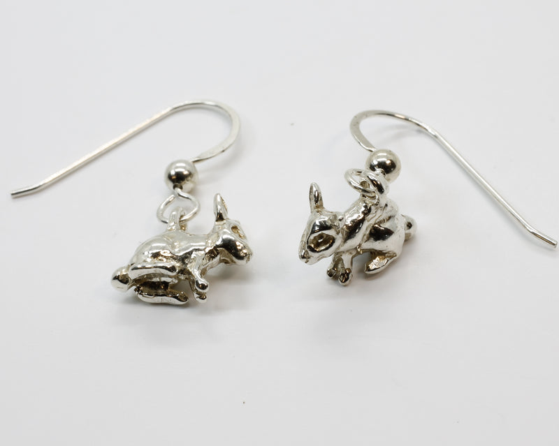 Tiny Bunny Rabbit Dangle Earrings in 925 Sterling Silver