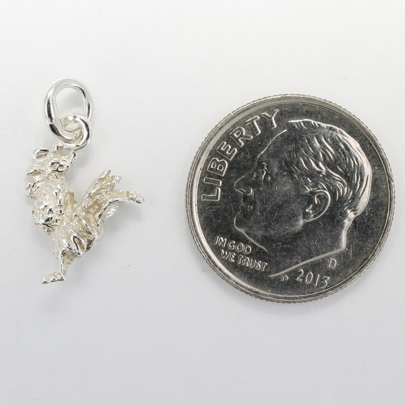 Silver Rooster Charm with tiny solid 925 Sterling Silver rooster chicken