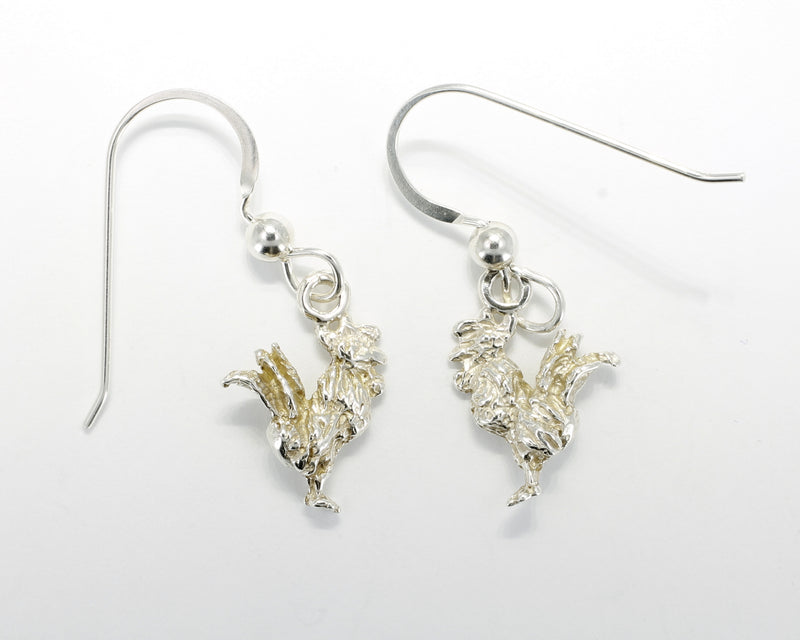 Silver Rooster Earrings with tiny solid 925 Sterling Silver roosters
