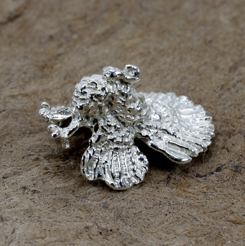 Silver Turkey Tie Tack for mans tie or lapel with 925 Sterling Silver Turkey