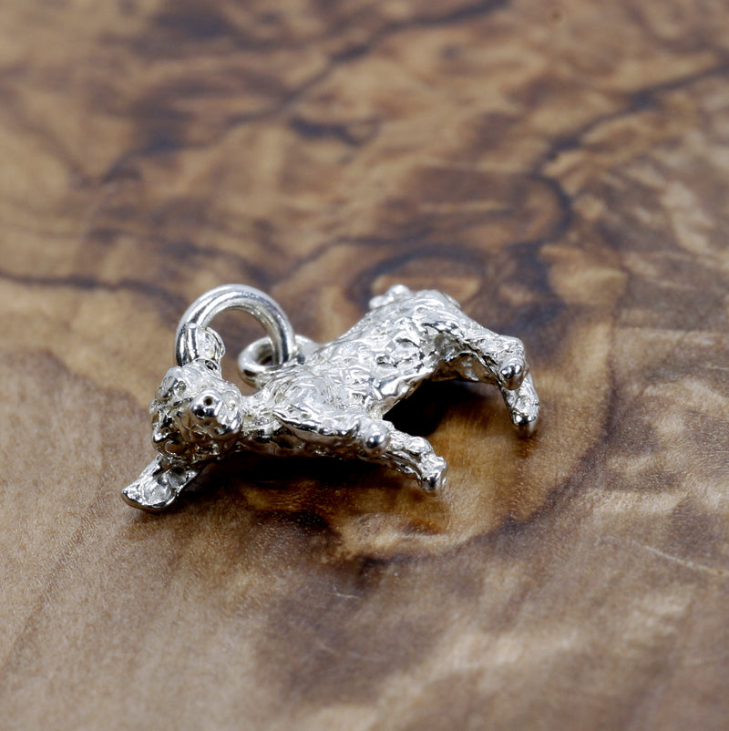 Silver Baby Goat Charm with a 3-D Solid 925 Sterling Silver Playful Goat
