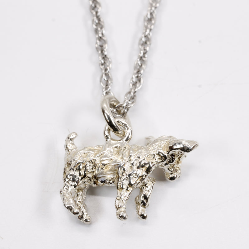 Small Silver Pygmy Goat Necklace made in Solid 925 Sterling Silver