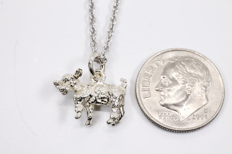 Silver Baby Goat Necklace with a 3-D Solid 925 Sterling Silver Playful Goat