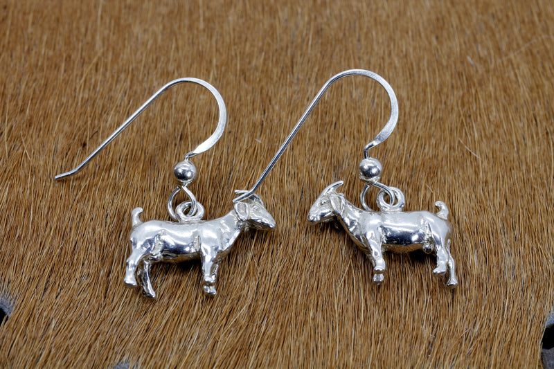Boer Goat Dangle Earrings made in 925 Sterling Silver for her