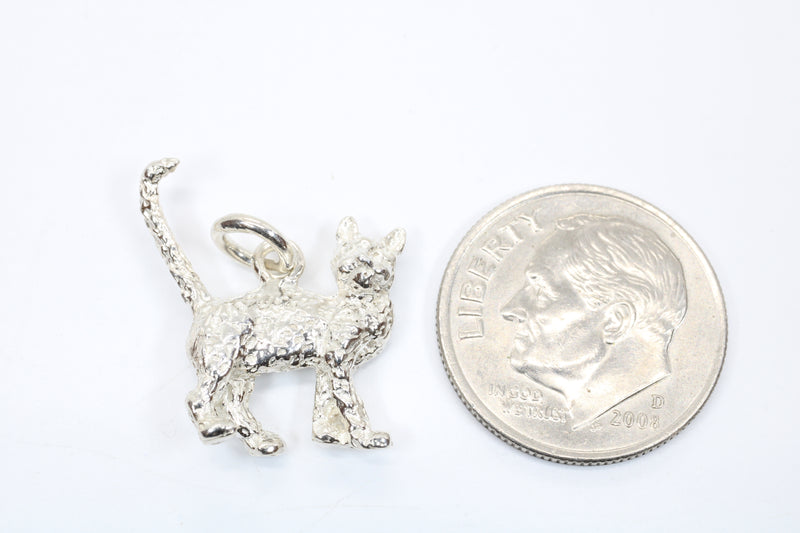 Silver House Cat Charm with solid 925 Sterling Silver House Cat