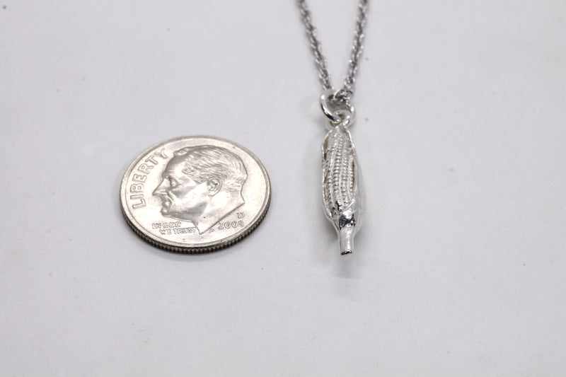 "Small Corn Cob Necklace in sterling silver on 18"" sterling silver chain"