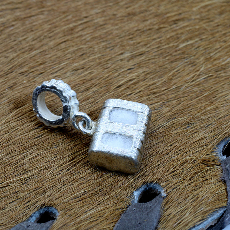 Cotton Bale Slide Charm with actual cotton inside in sterling silver