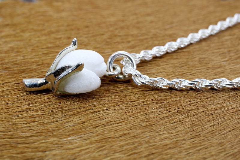 Cotton Anniversary Gift For Him Silver Cotton Boll Necklace with White Stone