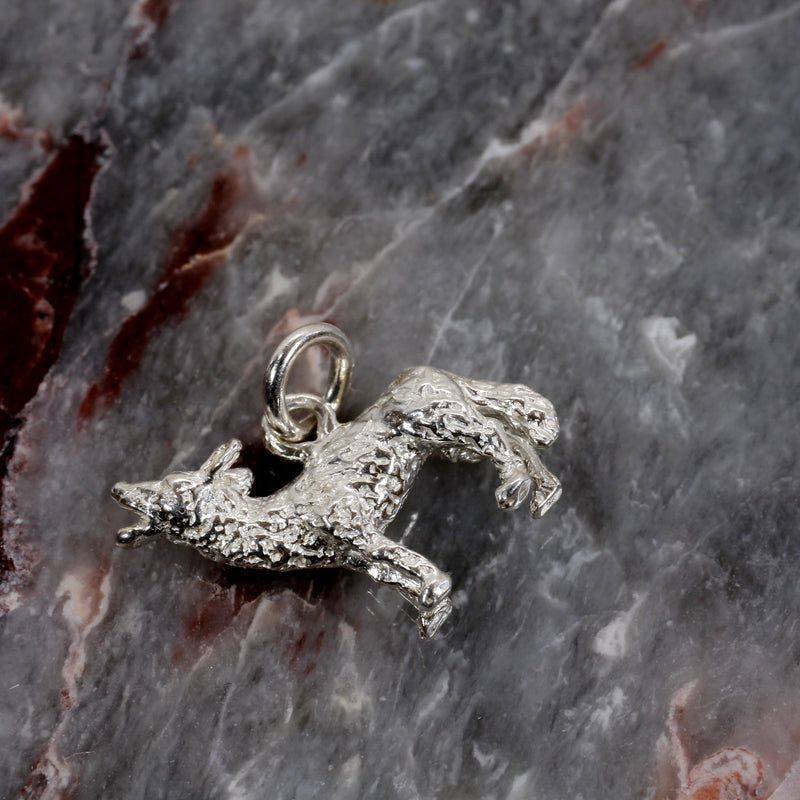 Silver Coyote Charm with solid 925 Sterling Silver 3D Howling Coyote