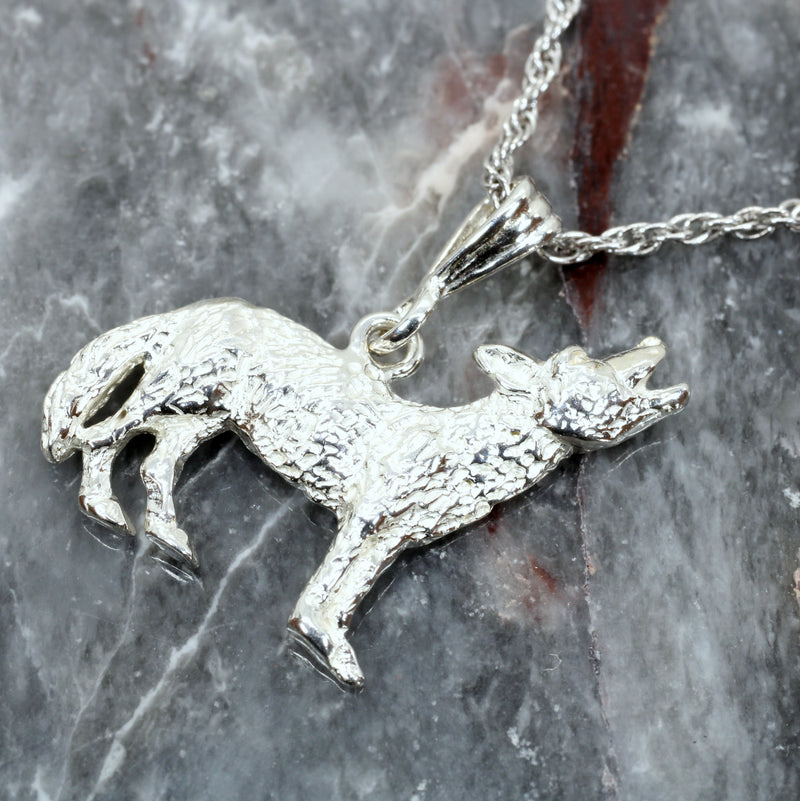 Silver Coyote Necklace with solid 925 Sterling Silver 2D Howling Coyote