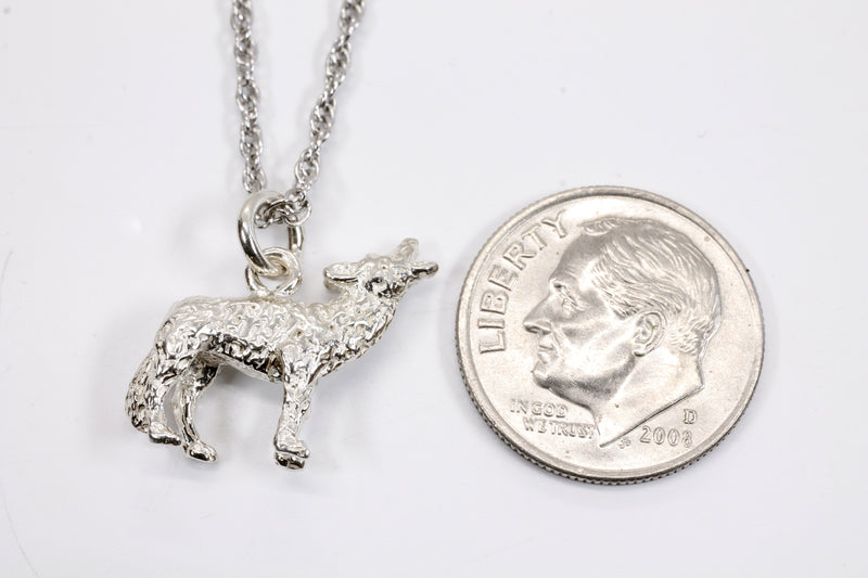 Silver Coyote Necklace with solid 925 Sterling Silver 3D Howling Coyote