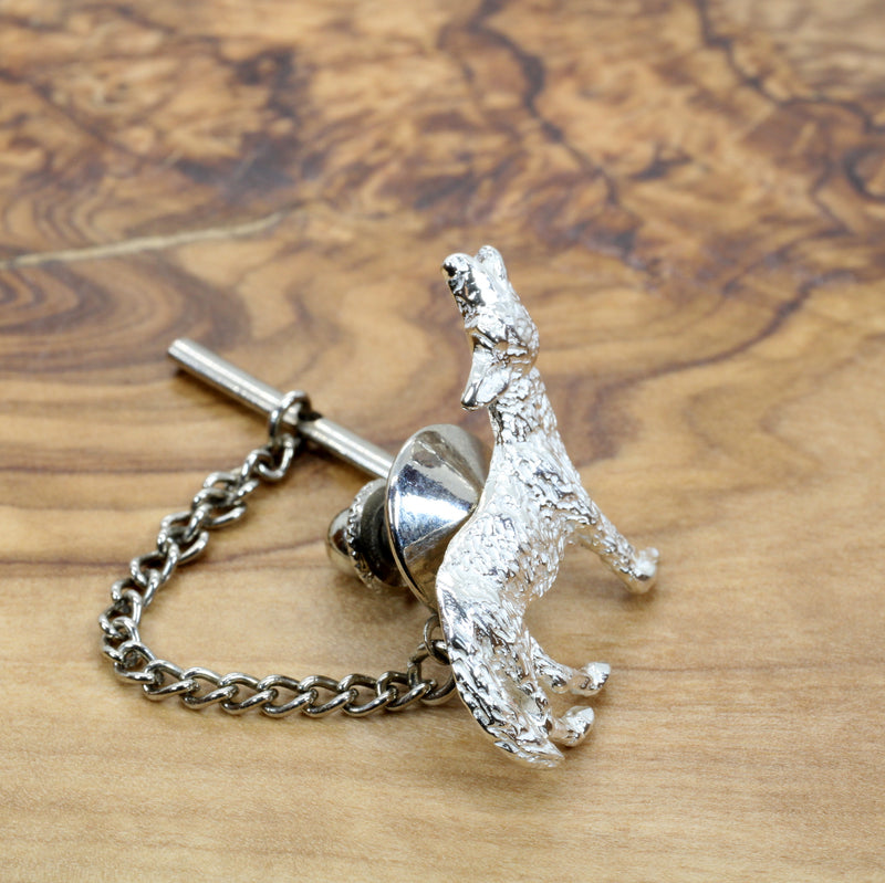 Mens Silver Coyote Tie Tack or pin with solid 925 Sterling Silver Howling Coyote