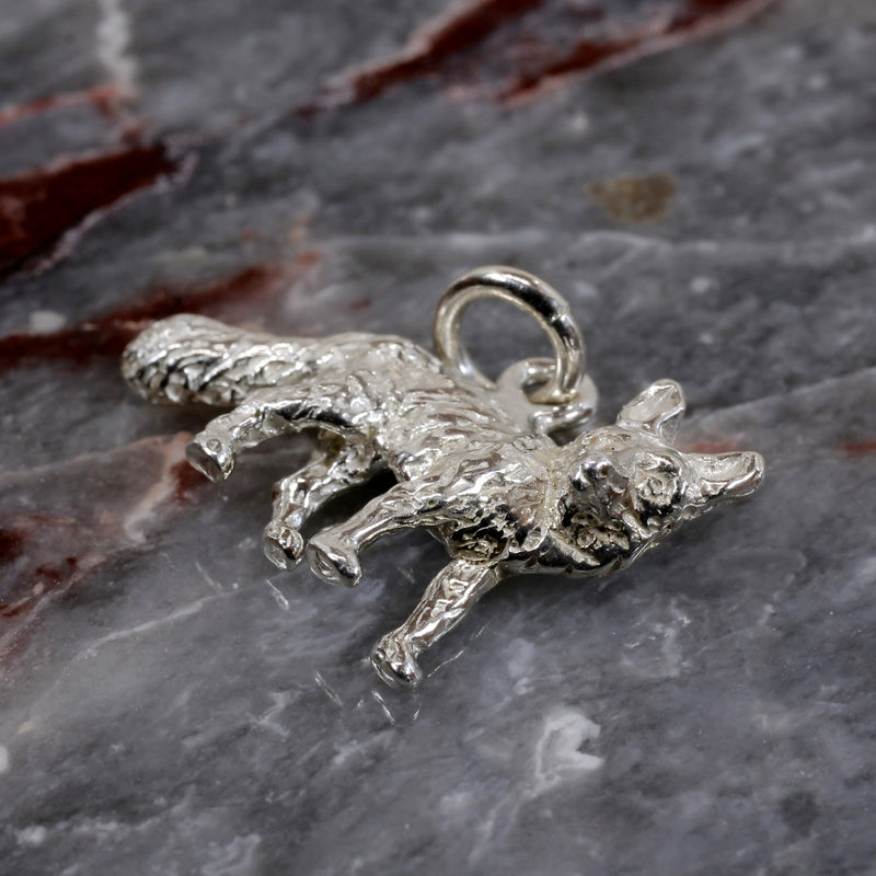 Silver Fox Charm with solid 925 Sterling Silver 3D Fox