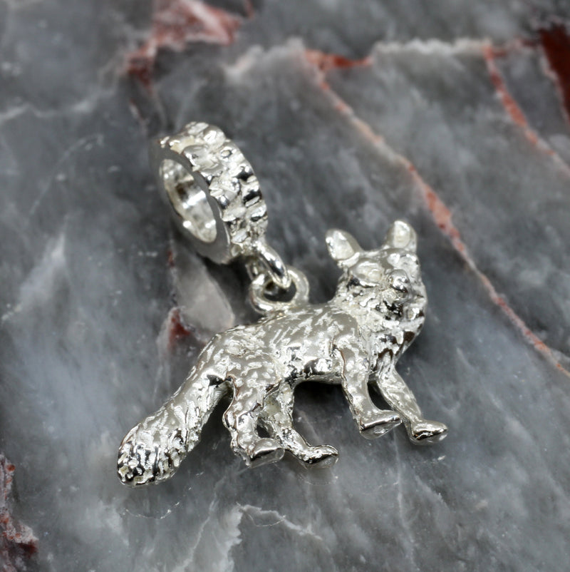 Silver Fox Slide Charm with solid 925 Sterling Silver 3D Fox
