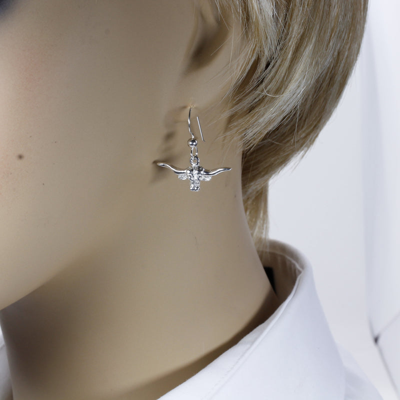 Silver Longhorn Head Earrings in small size made in 925 Sterling Silver