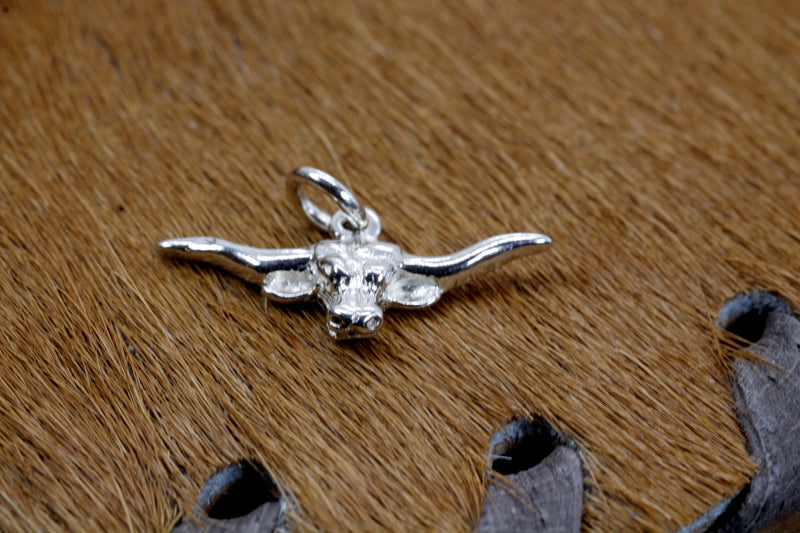 Silver Longhorn Head Charm for her bracelet made in 925 Sterling Silver