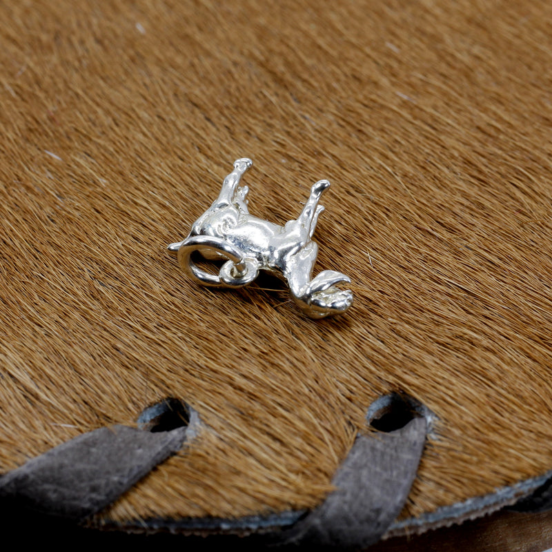 Silver Nubian Dairy Goat Charm with solid 925 Sterling Silver 3D Goat