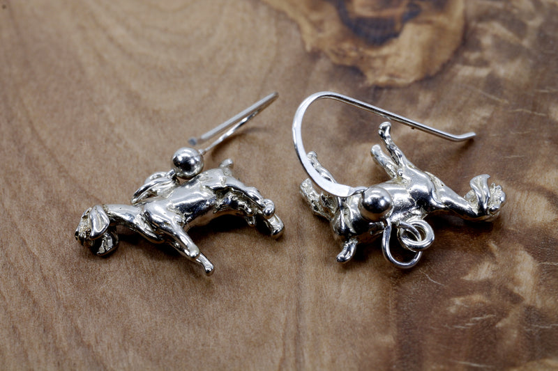 Silver Nubian Dairy Goat Earrings with solid 925 Sterling Silver 3D Goats