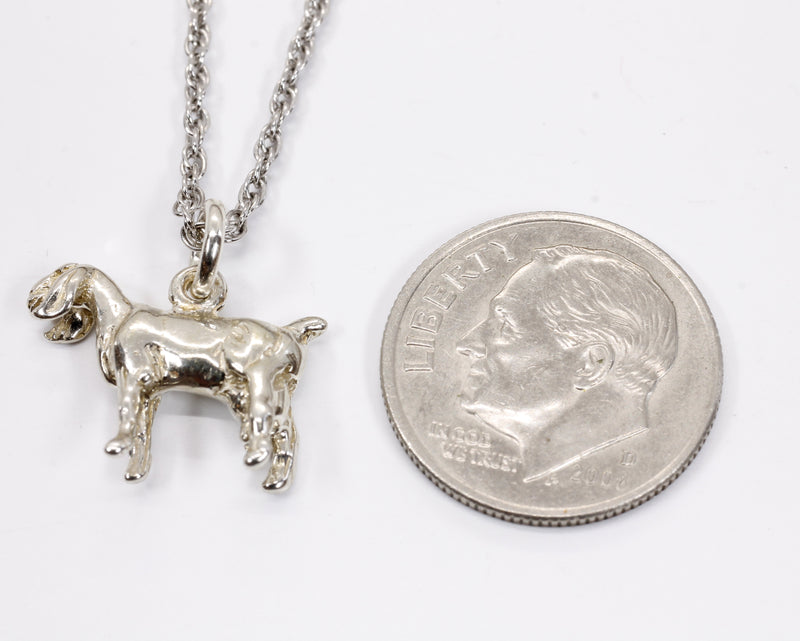 Silver Nubian Dairy Goat Necklace with solid 925 Sterling Silver 3D Goat