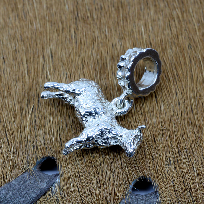 Silver Sheep Slide Charm made in Solid 925 Sterling Silver