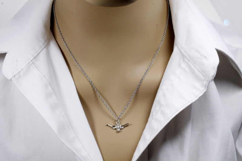 Silver Longhorn Head Necklace for her in small size made in 925 Sterling Silver